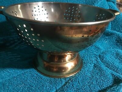 "9"" Copper Pedestal Colander / Strainer w/ Brass Handles & Stainless Steel Lined"