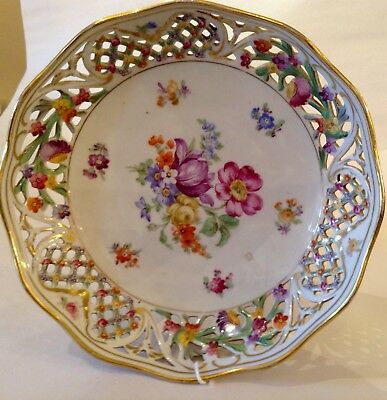 Beautiful Early Schumann Footed Candy Dish Dresden Flowers Reticulated Bowl