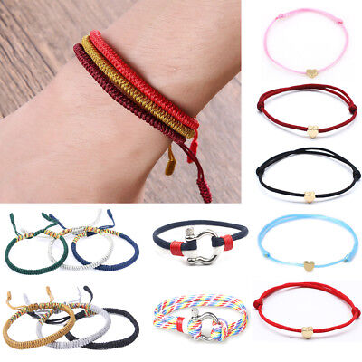 1x Lucky Rope Unisex Tibetan Buddhist Knots Bracelet Buddhism Jewelry Adjustable