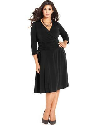 9028e9ea11 WD3130 NY Collection Women s Plus Black Ruched A Line Dress NWT Size 2X  MSRP  70