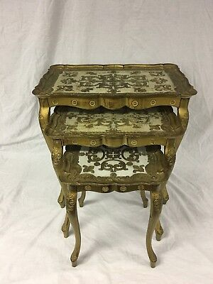 3 Vintage Tables Hollywood Regency Italian Stacking Nesting Florentine Gold Gilt