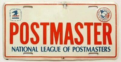 Vintage USPS POSTMASTER Booster License Plate, US Mail, Post Office, Government