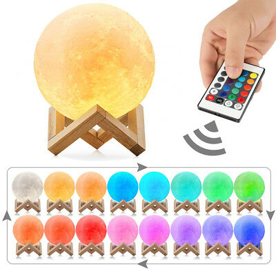 RGB 16 Color Changing Magical 3D Moon Lamp Night Light Remote Control USB Charge