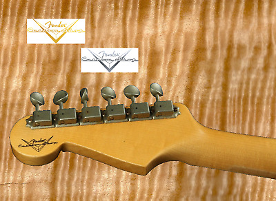 2 x Decalcomania Custom Shop Decal Chitarra Guitar Very Ink Gold & Silver