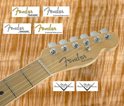 2 x Decalcomania decal Fender Telecaster chitarra guitar Gold / Grey Serial N°