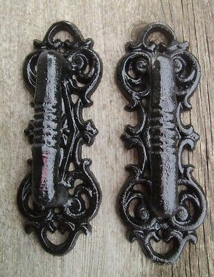 "Set of 2 Large 8"" Fancy Cast Iron Gate Barn Door Shed Pull Handle Black Finish"