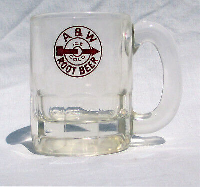 Vintage A W Root Beer Mug Red Logo 1950s Clear Back Label Hazel Atlas Glass 3""