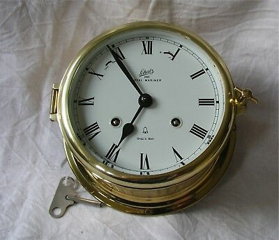 Grosse mechanische Glasenuhr Messing, SCHATZ 1881 Royal Mariner, 11 Rubine