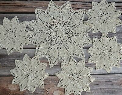 6 Hand Crochet Leaves Doilies Lot Country Wedding Table Runners Coasters in bulk