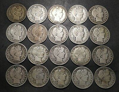 Barber Half Dollar Roll of 20 Coins NICE COINS!! (Lot A)