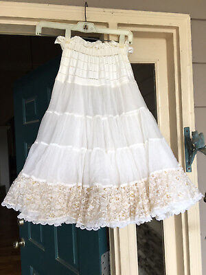 SQUARE DANCE Petticoat Fantasia White with Gold Accents One Size, 4-tier 2 layer