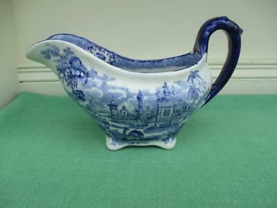 Beautiful Antique Ridgways Oriental Blue and White Gravy Boat - VGC