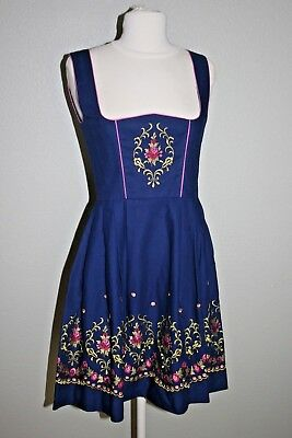 Kuhnen Dirndl Vintage 1960s Dress Blue Size 38 German Oktoberfest Embroidered