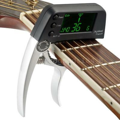 TCapo20 2-in-1 Guitar Capo Tuner with LCD Screen Aluminum Alloy Silver G5K2