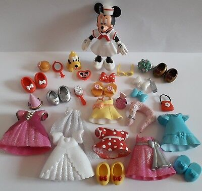 Disney Minnie Mouse Polly Pocket Style Figures Dresses Accessories