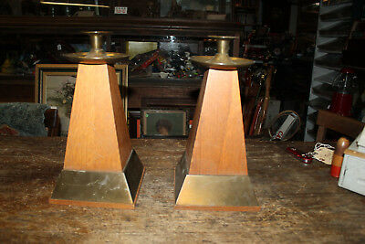 """Mission Style Pair Vintage Oak & Brass Large Candle Stick Stands Holders 13"""""""