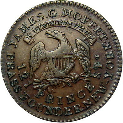 1837 New York City Hard Times Token James Moffet Backwards S & N HT-295 Low 321