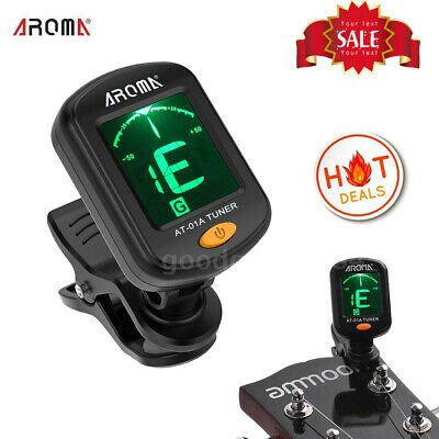 AROMA AT-01A Rotatable Clip-on Tuner LCD Display for Chromatic Guitar Bass T3Z5