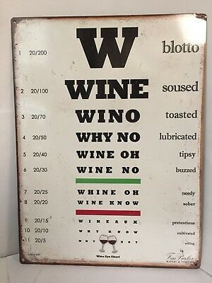 "Fess Parker Winery Wino Eye Chart Heavy Steel 11-3/4"" x 15-3/4"" Bar Decor Sign"