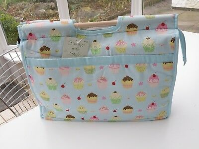 Knitting & Craft Storage Bag with Zip & Wooden Handles - Cupcake Design - NEW