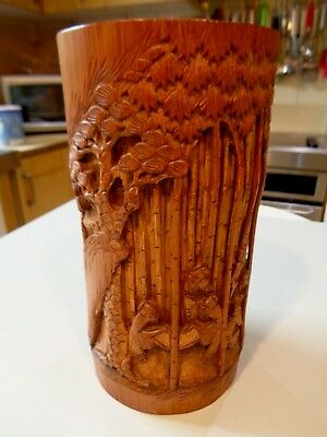 Vintage signed Chinese / oriental carved bamboo brush pot 3d trees clouds people