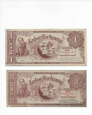 Labor Exchange Note Pair 1897 1 And 2 Units Of Labor