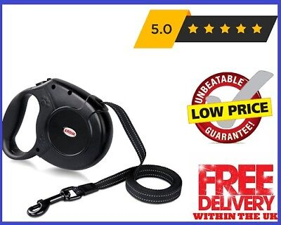 Heavy Duty Large Dog Extendable Retractable Dog Lead Set 5M for 50KG Dogs Black.