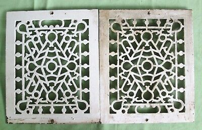 "PAIR Of Vintage Cast Iron Heat FLOOR GRATES For 8 x 10"" Opening"