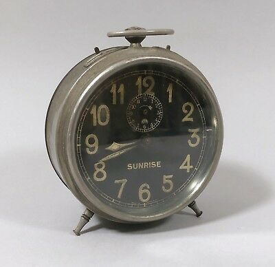 Vintage oversized German Haller alarm clock bedside large works wind up retro