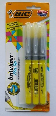BIC Brite Liner Flex Tip Highlighters Yellow 3/Pk