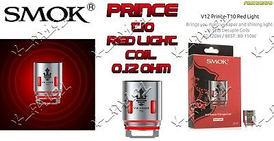 100% GENUINE SMOK TFV12 V12 PRINCE and PRINCE RESA T10 DECUPLE RED LIGHT COILS
