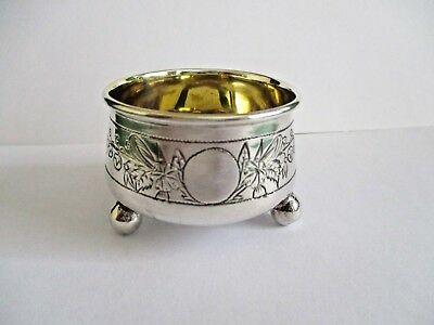 Russian Silver Ball Foot Salt Floral Engraved Moscow 1890