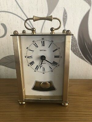 Vintage Estyma Quartz Carriage Clock  Metal/Brass Pendulum Not Working W Germany