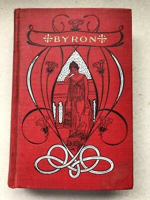 Antique Poetical Works of Lord Byron Poems & Life Beautiful Art Nouveau Binding