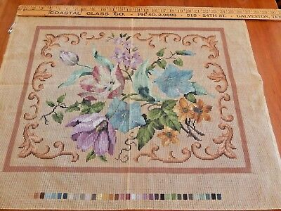 Large Vintage Or Antique Hand Painted Needlepoint Large Flowers To Complete