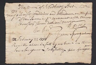 Colonial Medicine handwritten doctor receipt dated 1775 for poor Newburyport MA