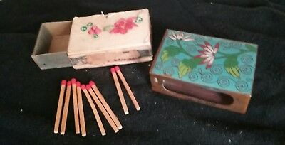 Antique Brass And Enamel Match Box Cover W Matches And Decorated Matchbox Holder