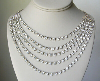 Vintage Art Deco STERLING Silver/ Open Back CRYSTAL Festoon NECKLACE 1930s
