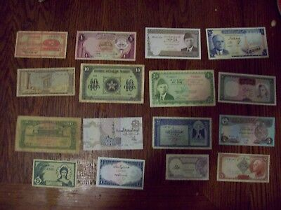 Lot Of 16 Middle Eastern Banknotes