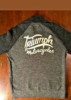 Triumph Motorcycle Shirt 1/4 Zip Pullover Sweater Lucky Brand Mens M Gray $99