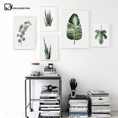 75611 Watercolor Plants Leaves Vintage Landscape Wall FRAMED CANVAS PRINT Toile