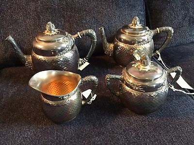Wood & Hughes NY Sterling Silver Tea Coffee Set Hammered Iridescent 2,316 grams