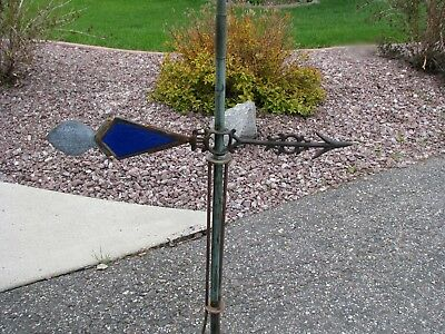 Complete Cobalt Blue Kite Tail Old Lightning Rod Weather Vane