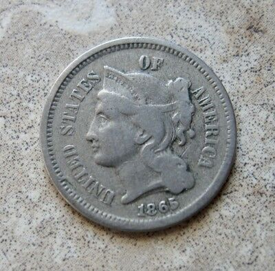 Antique Us Coin 1865  3 Cent Piiece