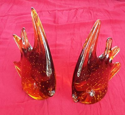 Vintage Blown Art Glass Amber Fish Paperweight One Pair
