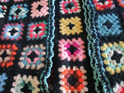 Antique Wool Afghan Throw Colorful Granny Squares Crochet Border Early 1900s