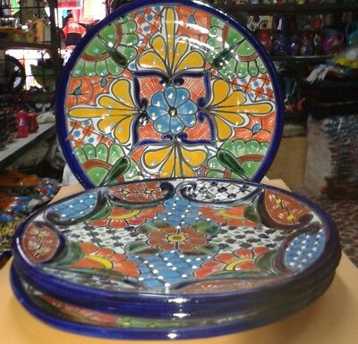 "4 Brand New Talavera 9.6"" Plates, Beaded Handcrafted Multicolor Elegant Folk Art"