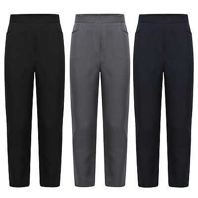 New Girls School Pull Up Half Elasticated Waist Trousers Legging