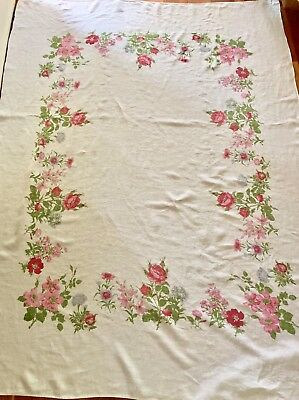 Vintage Floral cotton tablecloth ~ shabby cottage chic