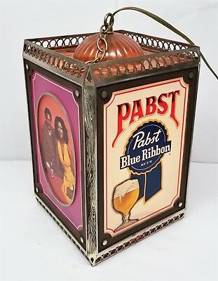 S108 RARE VINTAGE 70'S PABST BLUE RIBBON LIGHTED HANGING ROTATING BEER SIGN 8x13